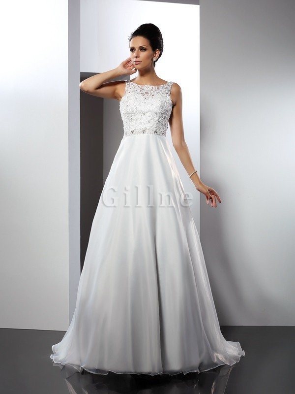 Long Chapel Train Sleeveless Satin Scoop Wedding Dress
