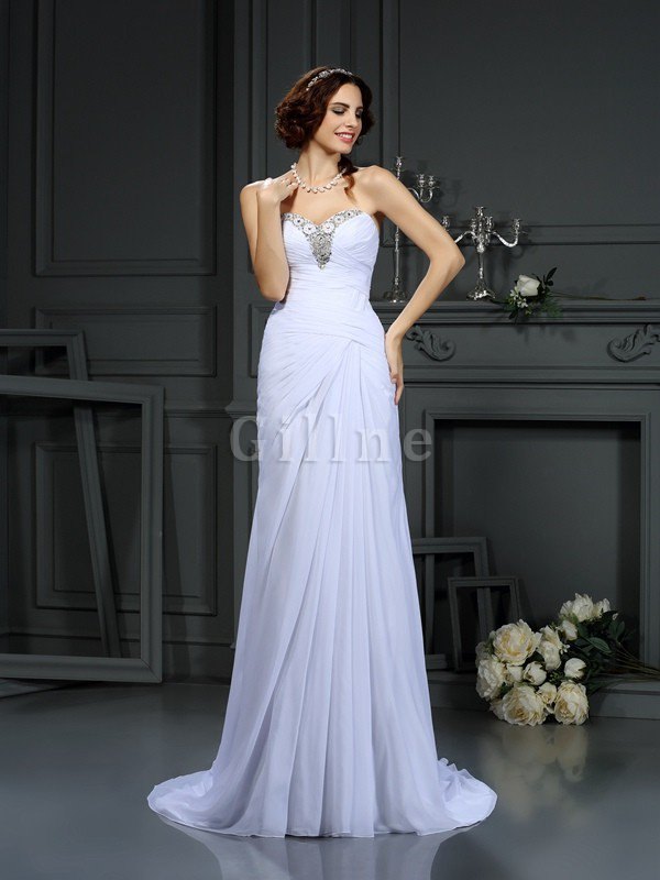 Beading Sleeveless Sweep Train Lace-up Natural Waist Wedding Dress