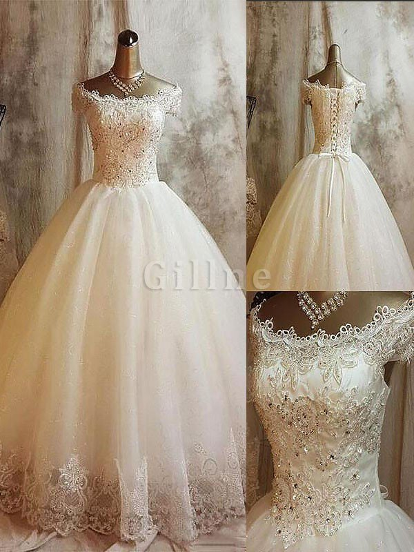 Ball Gown Off The Shoulder Sleeveless Tulle Natural Waist Wedding Dress