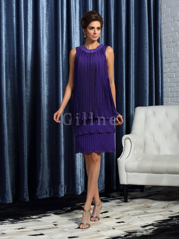 A-Line Draped Jewel Knee Length Natural Waist Mother Of The Bride Dress