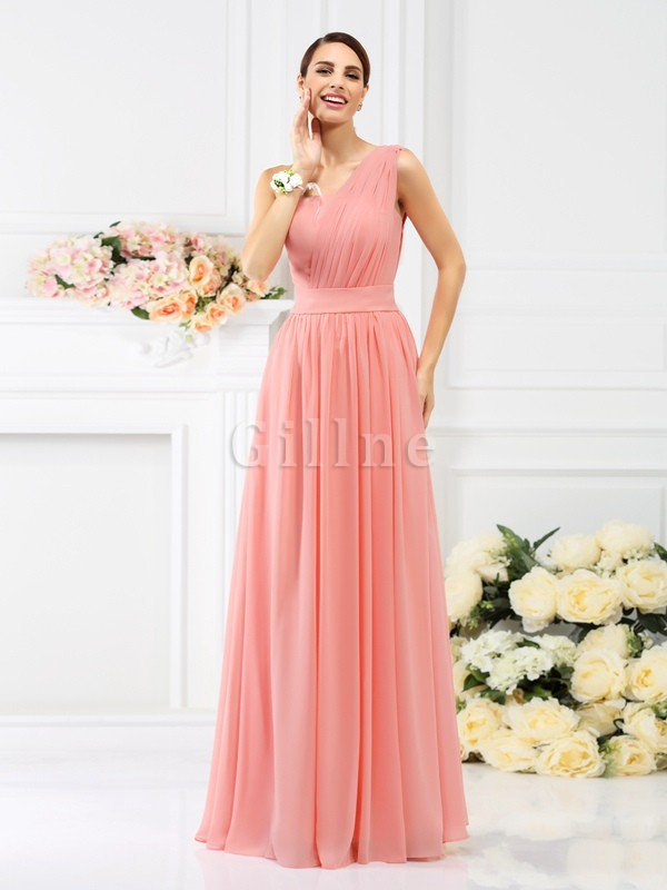 Pleated Long A-Line One Shoulder Bridesmaid Dress