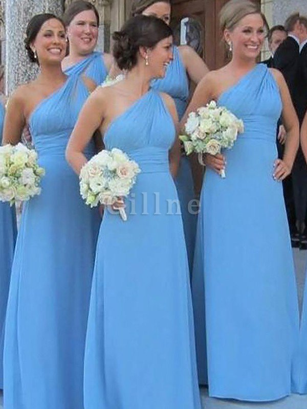 One Shoulder Floor Length Natural Waist Sleeveless Chiffon Bridesmaid Dress