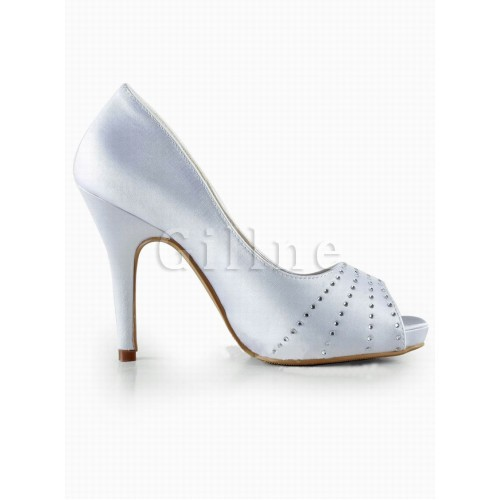 Fish Head High With Satin Bridal Shoe With Fine