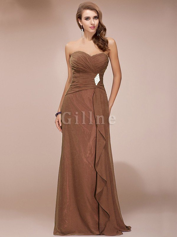 Chiffon Ruffles Beading Sleeveless Long Bridesmaid Dress