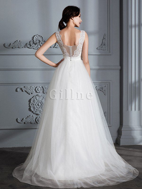 Sweep Train Natural Waist Sleeveless A-Line Wedding Dress