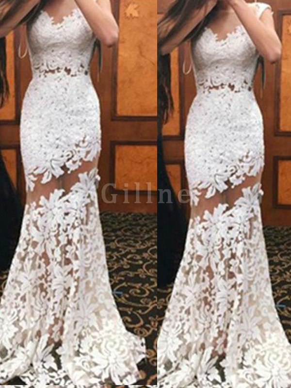 Sweep Train Scoop Mermaid Lace Natural Waist Prom Dress