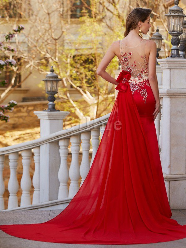 Appliques Mermaid Natural Waist Court Train Satin Evening Dress