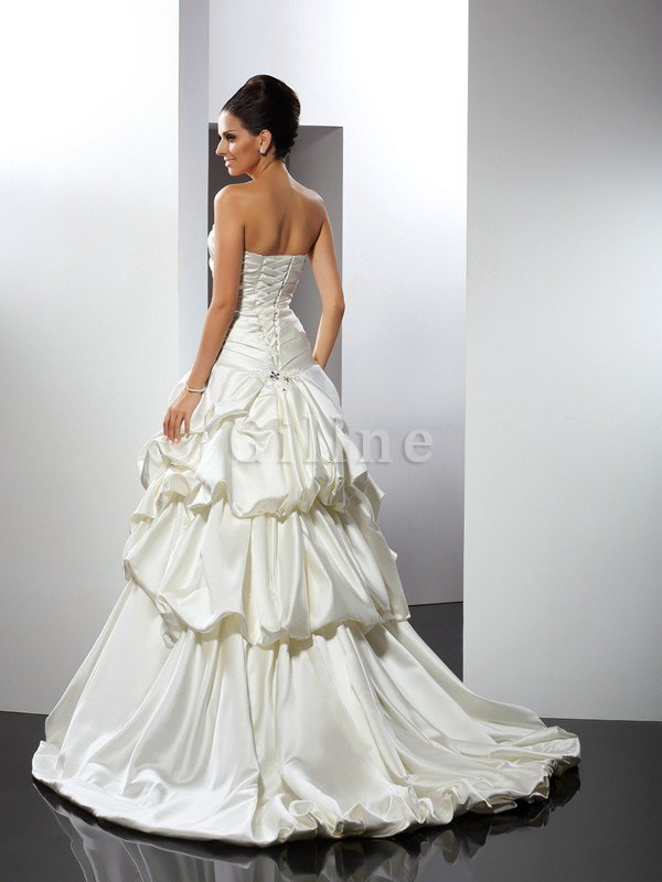 Sweetheart Long Satin Empire Waist Ball Gown Wedding Dress