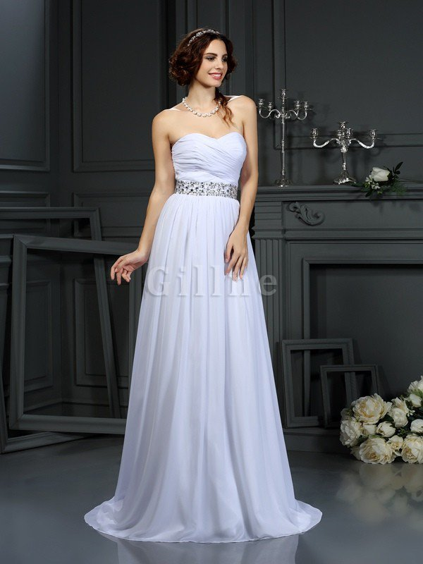 Court Train Beading A-Line Sleeveless Chiffon Wedding Dress