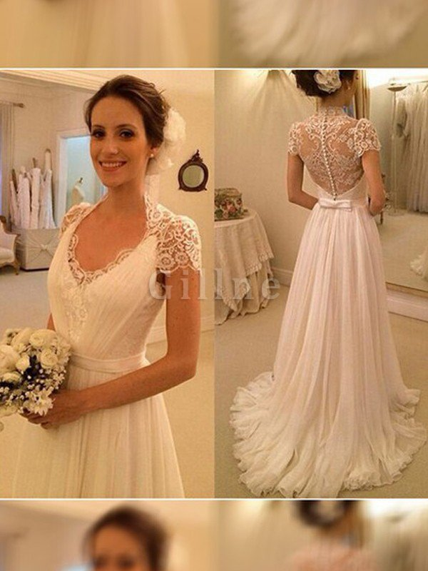 Sweep Train Chiffon Natural Waist A-Line Wedding Dress