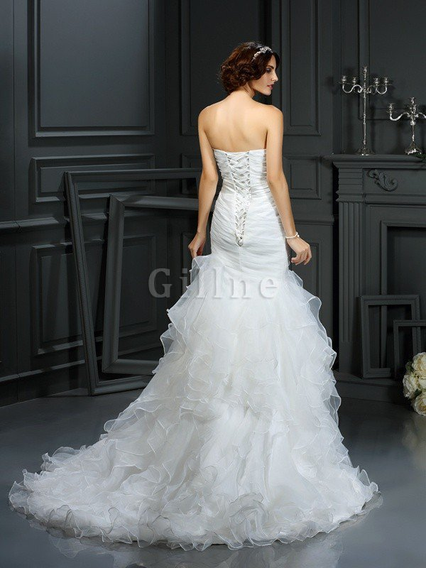 Court Train Sleeveless Organza Mermaid Lace-up Wedding Dress
