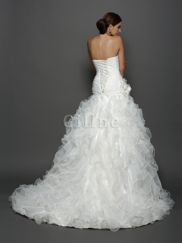 Sleeveless Ball Gown Flowers Lace-up Natural Waist Wedding Dress