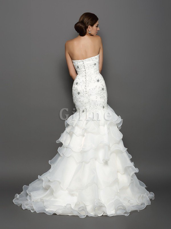 Beading Appliques Sleeveless Organza Long Wedding Dress