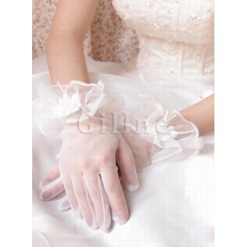 Organza With Flowers White Elegant | Modest Bridal Gloves