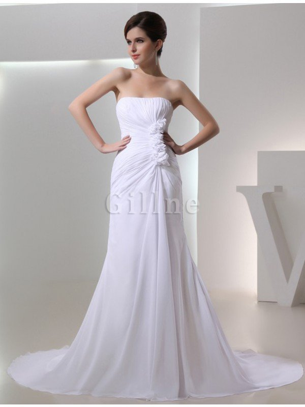 Strapless Chiffon A-Line Draped Wedding Dress
