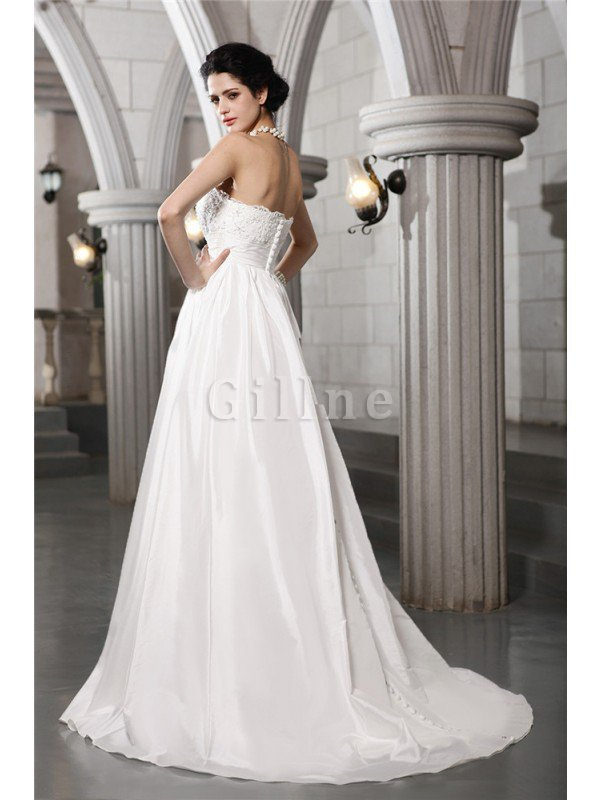 Long Appliques A-Line Sleeveless Wedding Dress