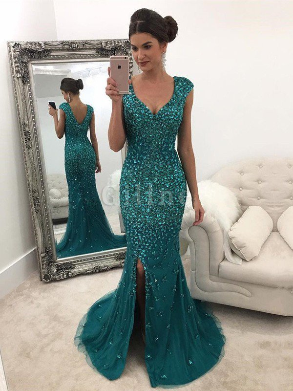 Tulle Sequins Natural Waist Sweep Train Princess Prom Dress