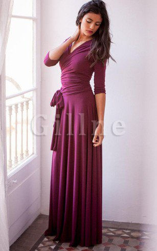3/4 Length Sleeves V-Neck Informal & Casual Elegant & Luxurious Bridesmaid Dress