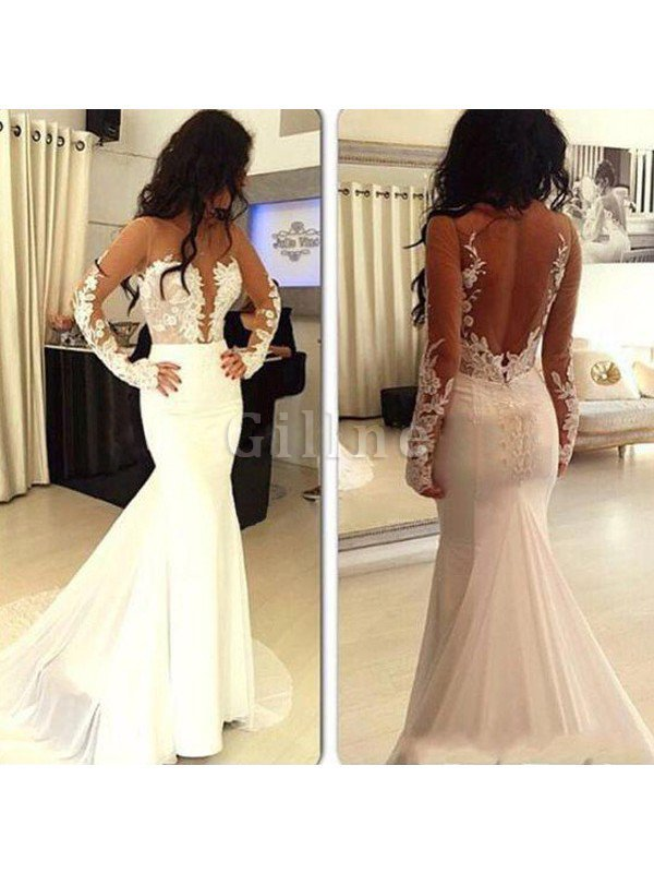 Natural Waist Scoop Sweep Train Mermaid Satin Wedding Dress