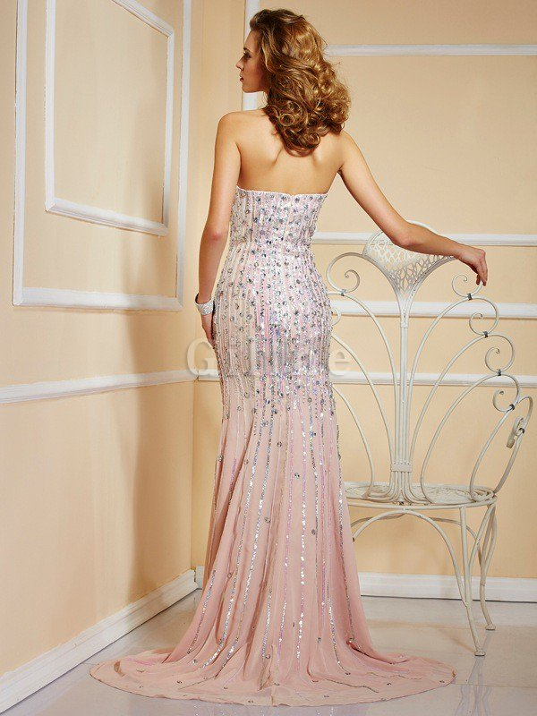 Natural Waist Chiffon A-Line Long Strapless Evening Dress
