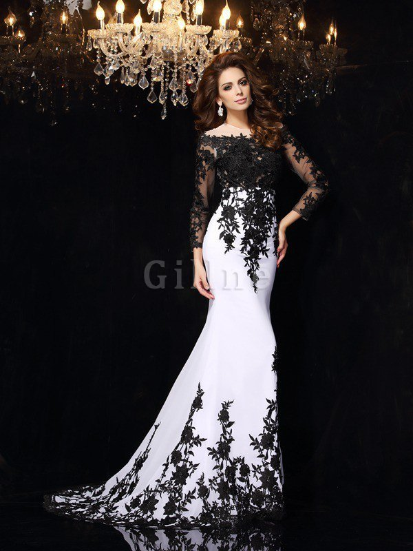 Long Sheath Zipper Up Lace Court Train Prom Dress
