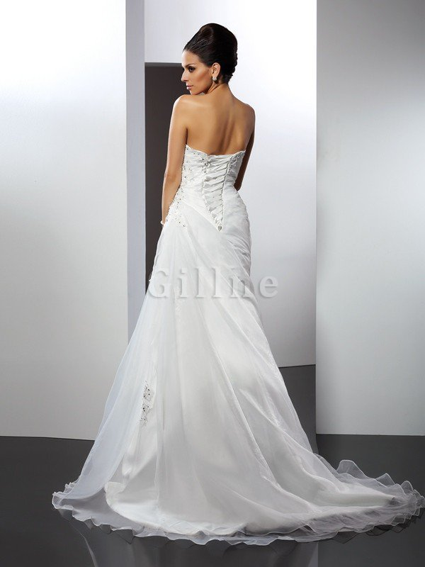 Court Train Sweetheart A-Line Empire Waist Wedding Dress