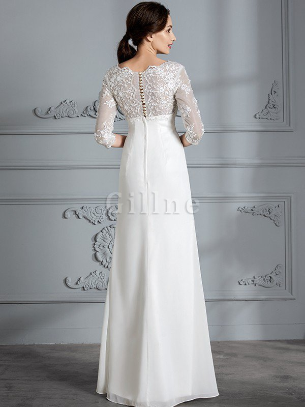 Sheath Chiffon Floor Length 3/4 Length Sleeves V-Neck Wedding Dress