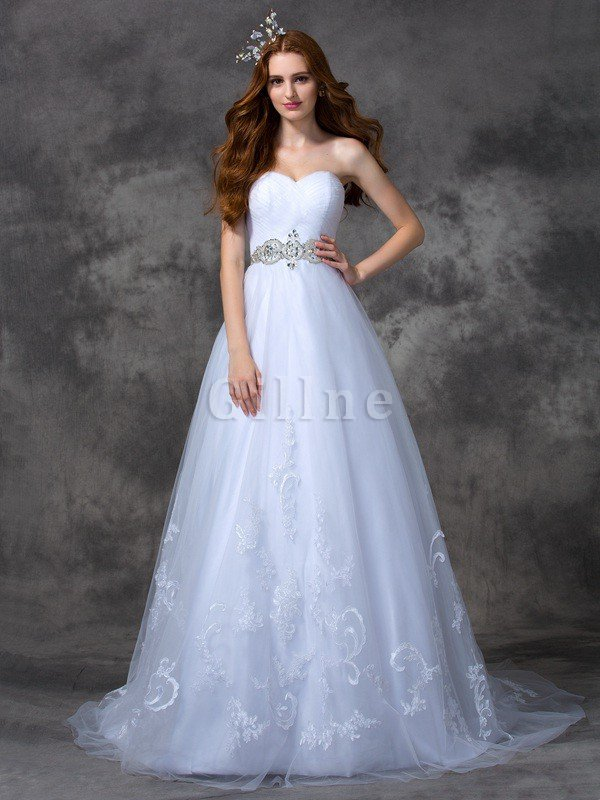 Beading Zipper Up Sweep Train Long A-Line Wedding Dress