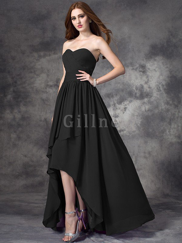 A-Line High Low Ruffles Zipper Up Bridesmaid Dress