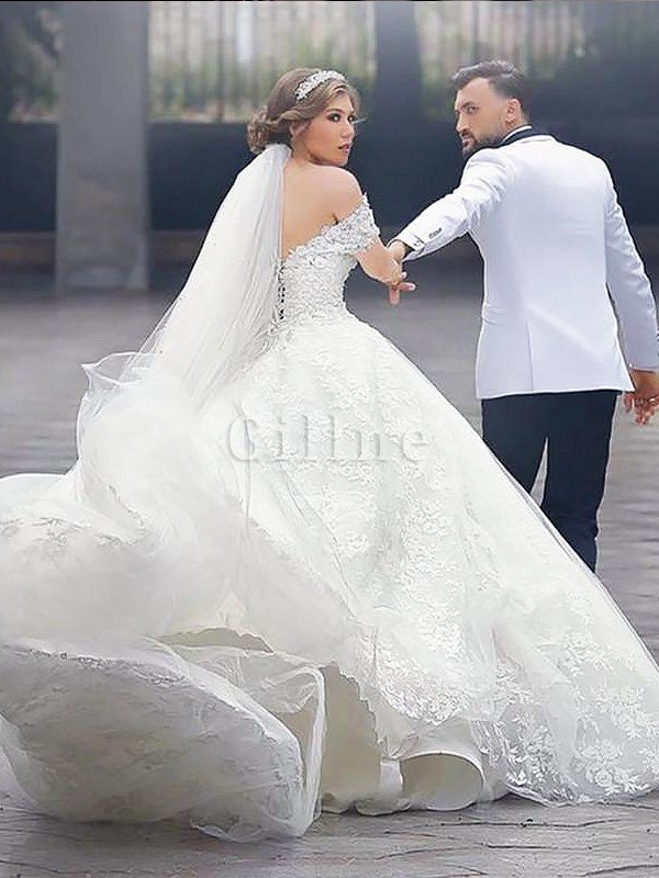Short Sleeves Court Train Off The Shoulder Natural Waist Ball Gown Wedding Dress