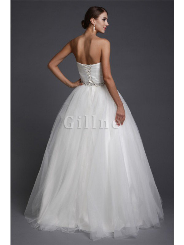 A-Line Floor Length Sweetheart Long Wedding Dress