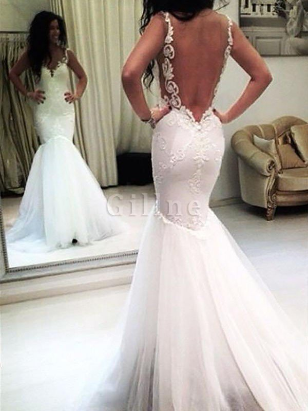Spaghetti Straps Sleeveless Natural Waist Appliques Tulle Wedding Dress