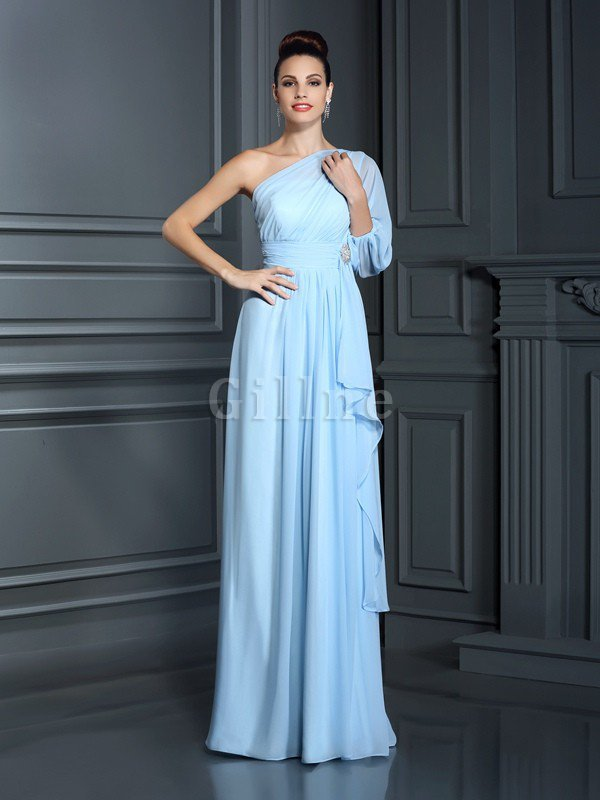 Empire Waist 3/4 Length Sleeves Sheath Long Floor Length Bridesmaid Dress