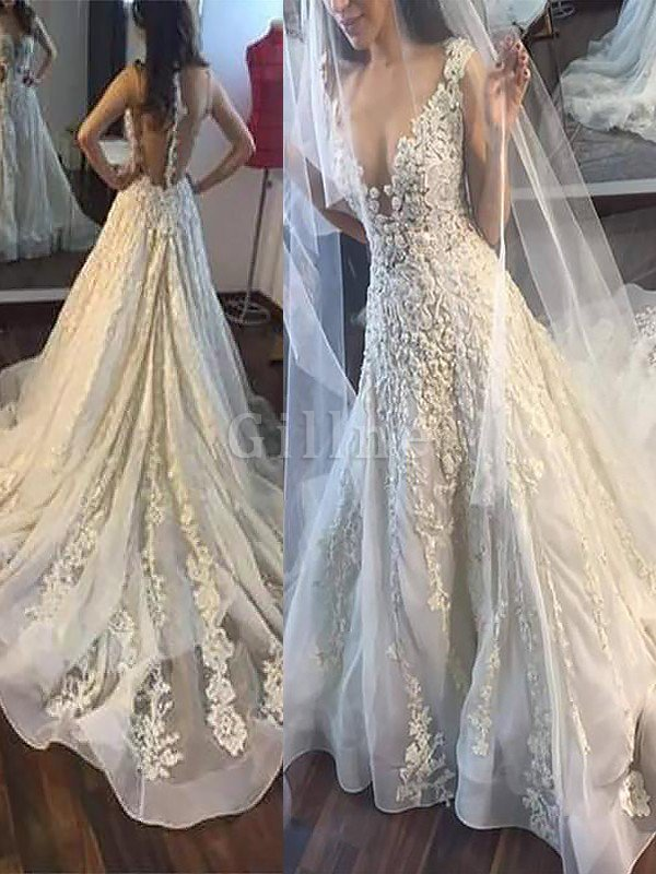 Natural Waist Appliques V-Neck A-Line Wedding Dress