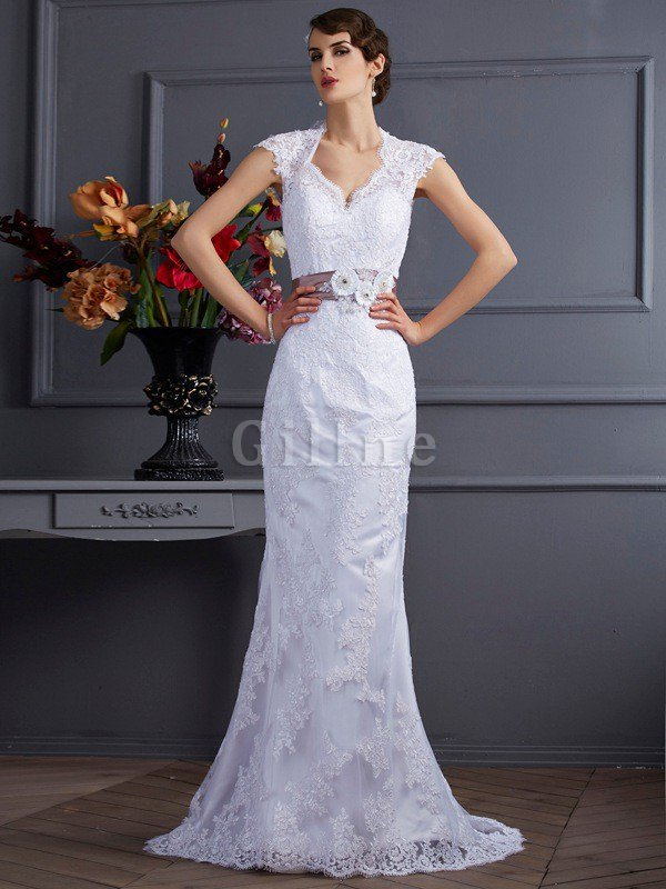 Sweep Train Long Lace Mermaid Sleeveless Wedding Dress