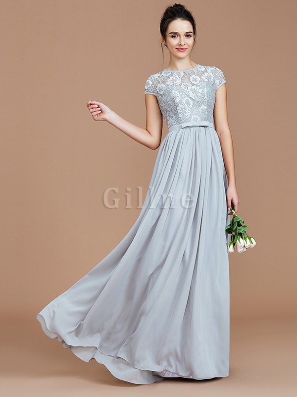 A-Line Jewel Lace Short Sleeves Bridesmaid Dress