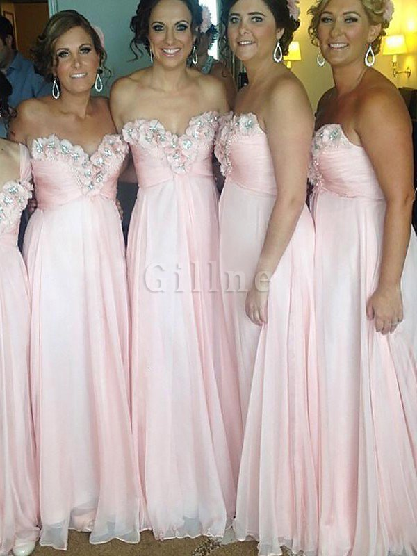 Natural Waist Chiffon Sweetheart A-Line Bridesmaid Dress