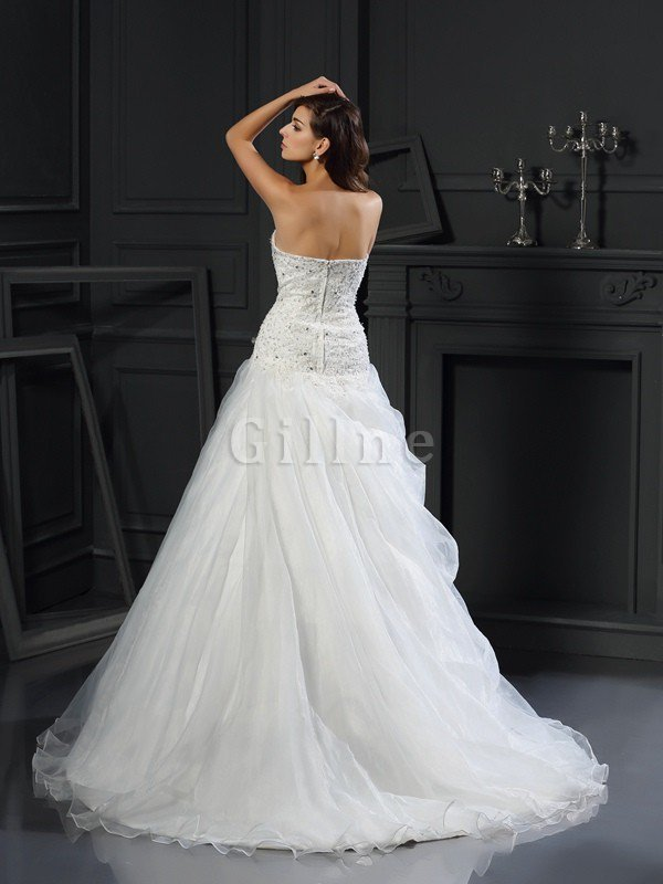 Long Ruffles Chapel Train Empire Waist Sweetheart Wedding Dress