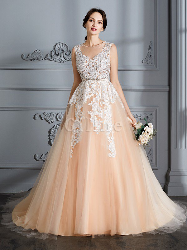 Ball Gown Sleeveless Natural Waist Court Train Tulle Wedding Dress