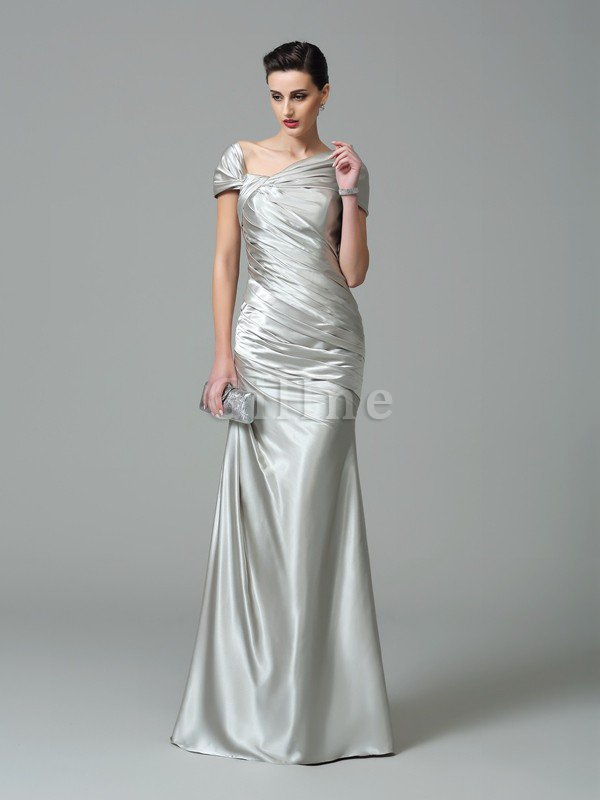 Sheath Off The Shoulder Pleated Long Floor Length Evening Dress