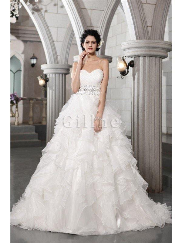 Long Empire Waist Organza Sleeveless Ball Gown Wedding Dress