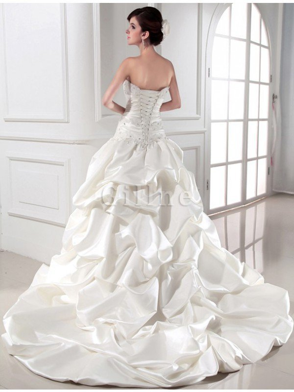 Strapless Beading Sleeveless Chapel Train Long Wedding Dress