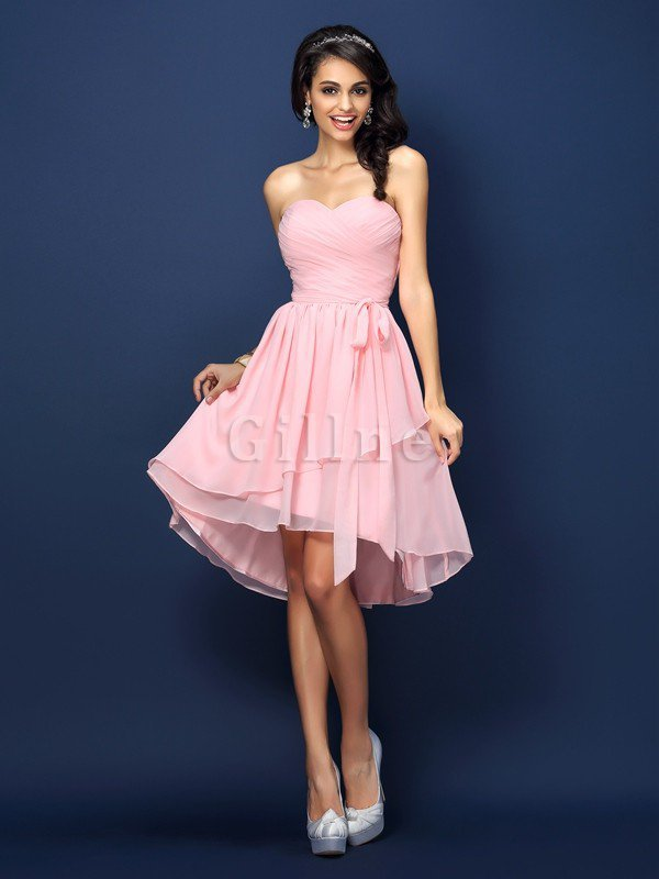 Sleeveless Draped Sweetheart Short Accented Bow Bridesmaid Dress