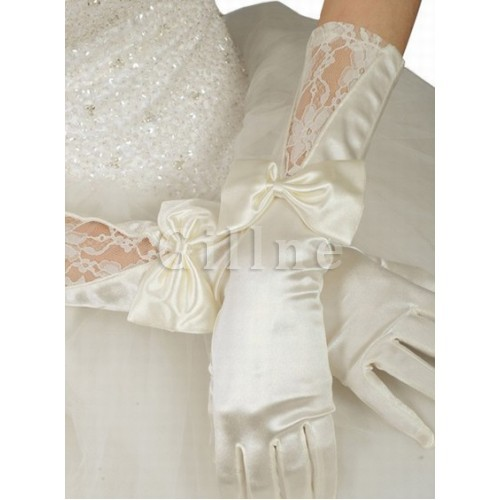 Taffeta With Bowknot White Chic | Modern Bridal Gloves