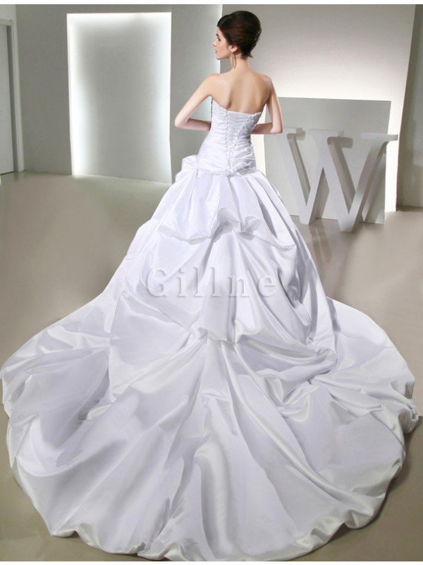 Beading Chapel Train Long Lace-up Sleeveless Wedding Dress