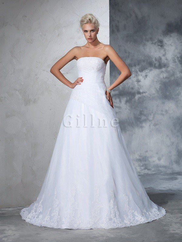 Strapless Court Train Sleeveless Long Ball Gown Wedding Dress