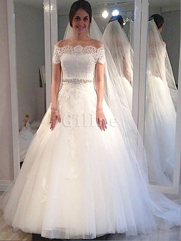 Sweep Train Tulle Short Sleeves Off The Shoulder Ball Gown Wedding Dress