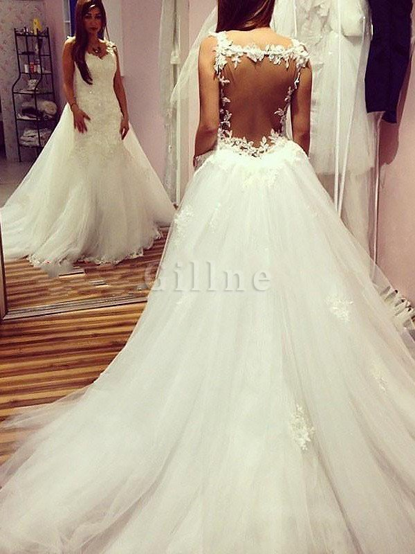 Natural Waist Chapel Train Tulle Ball Gown Sweetheart Wedding Dress