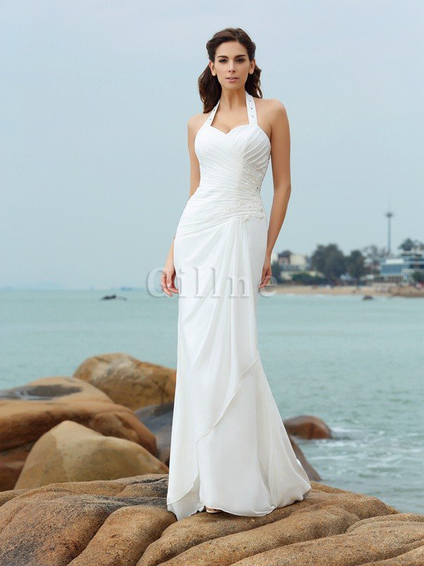 Halter Sheath Court Train Draped Chiffon Wedding Dress