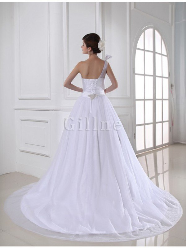 Beading Satin Tulle One Shoulder Empire Waist Wedding Dress